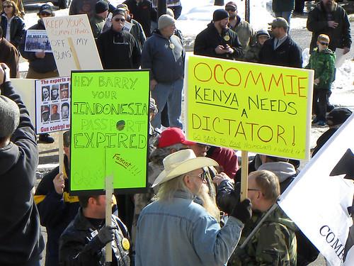 Gun rally birthers tell fascist communist Obama to go back to Africa