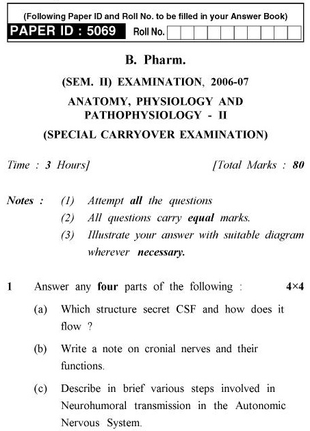 UPTU B.Pharm Question Papers PHAR-123 - Anatomy. Physiology and Pathophysiology-II (Special Carryover Examination)