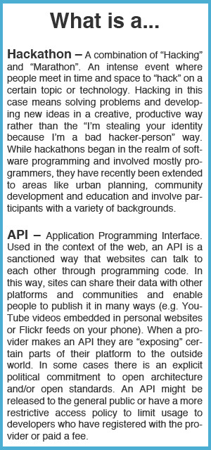 What is a hackathon? What is an API?