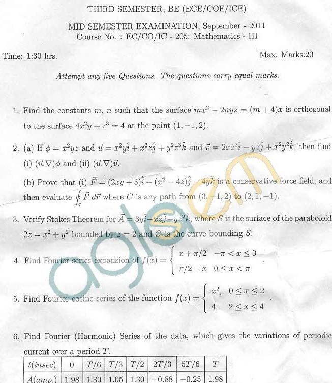 NSIT: Question Papers 2011 – 3 Semester - Mid Sem - EC-CO-IC-205