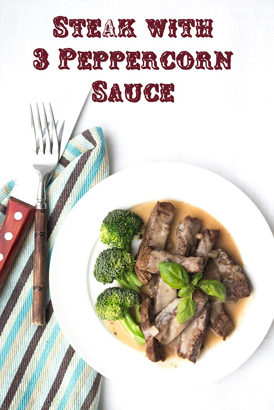 Steak with 3 Peppercorn Sauce