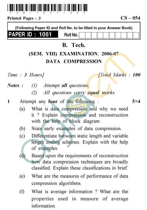UPTU B.Tech Question Papers - CS-54 - Data Compression