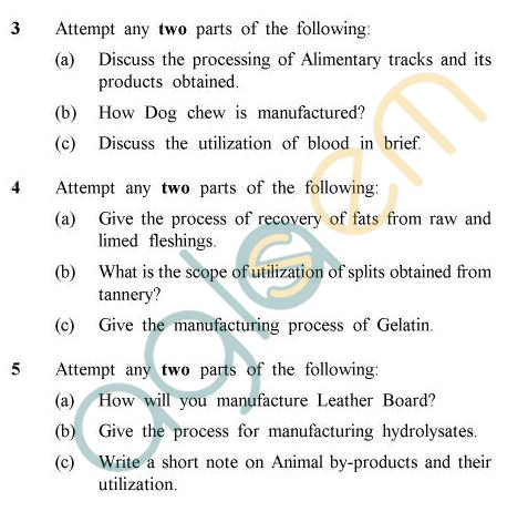 UPTU B.Tech Question Papers -LT-012 - Animal & Tannery by Products