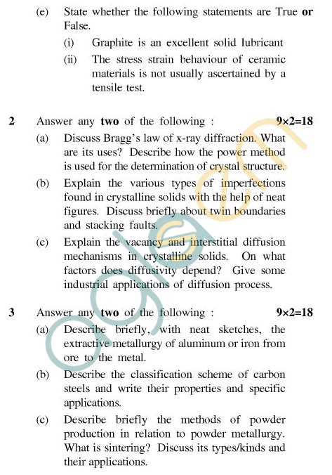 UPTU: B.Tech Question Papers - PI-602 - Metallurgy & Industrial Chemistry