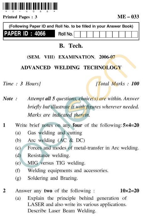 UPTU B.Tech Question Papers - ME-033 - Advanced Welding Technology