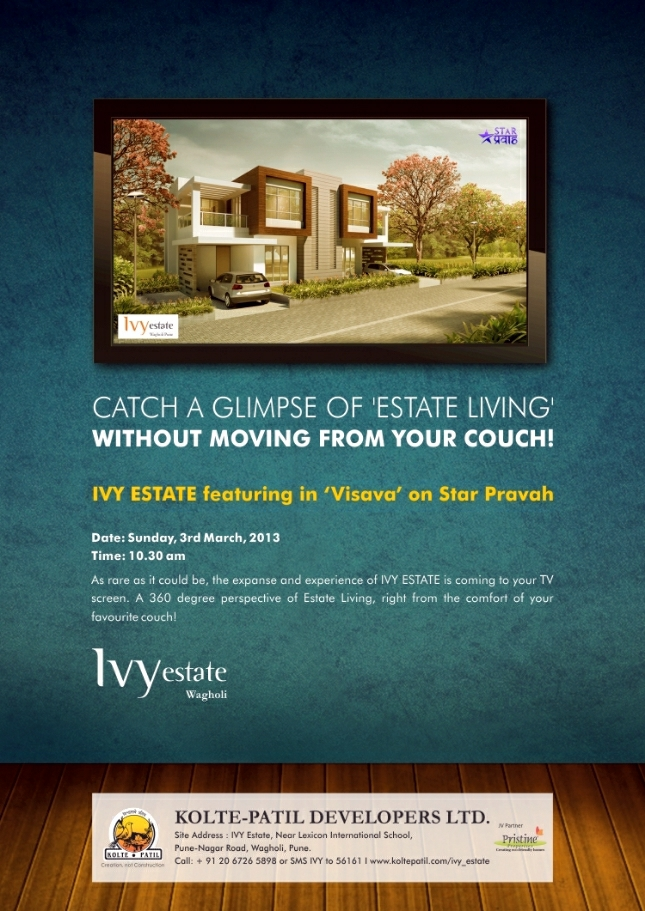 Ivy Estate Wagholi on Star Pravah - Today, 3rd March, 2013, 10.30 am