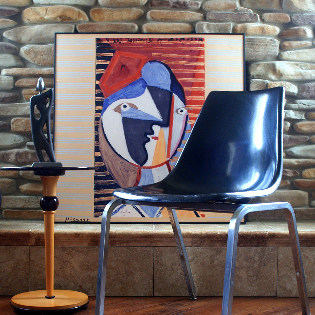 Black Is The New Black VINTAGE FIBERGLASS SHELL Chair Eames Style H Base  Circa 1960 By