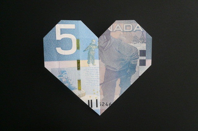 Dollar Origami Heart Locket