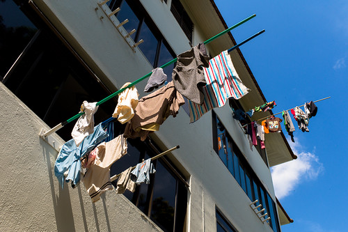Laundry hanging at old Tiong Bahru Estate