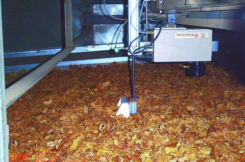 Tobacco moisture analyzer at dryer exit.