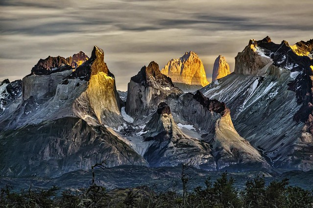 First light on Cuernos del Paine