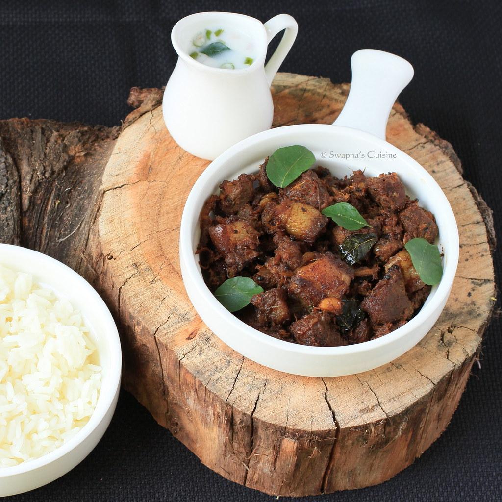 Swapna 39 s cuisine kerala style pork fry nadan for Cuisine kerala