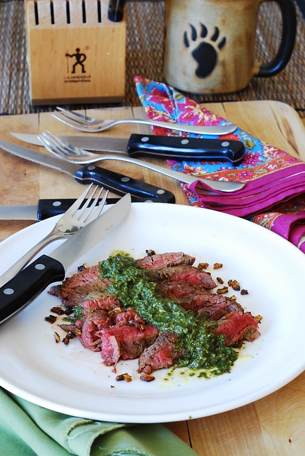 Flank steak and Chimichurri sauce