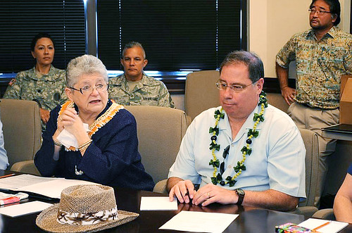 <p>University of Hawaii President M.R.C. Greenwood and Department of Homeland Security Deputy Undersecretary of Science and Technology Daniel Gerstein at UH's Center for Island, Maritime and Extreme Environment Security visit to Iolani School in March 2013. (Photo courtesy of Iolani School)</p>