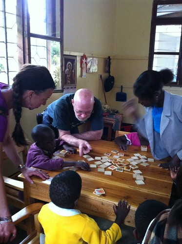 Rich and Margaret visiting the classroom for kids with disabilities.