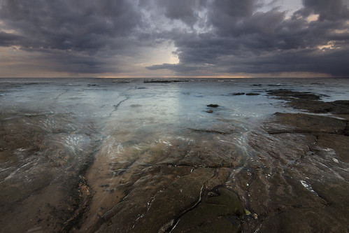 sunset sky storm motion clouds coast rocks sony south stormy devon alpha exmouth a77