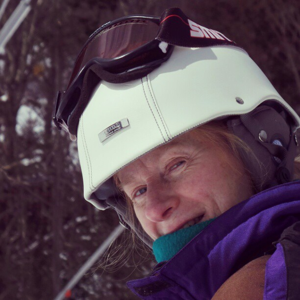 Carol skiing