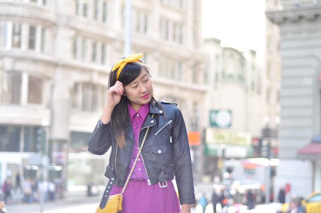 purple lace inset crisscross back a-line dress c/o Charlotte Russe, stone zip-back nubuck ghillie wedges c/o Charlotte Russe, Nasty Gal leather moto jacket, gifted Modcloth headband, gifted yellow leather crossbody purse