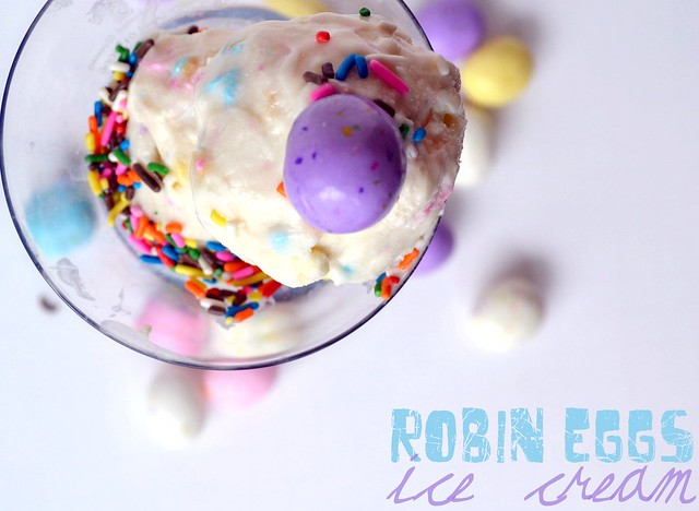 Robin Eggs Cream Cheese Ice Cream