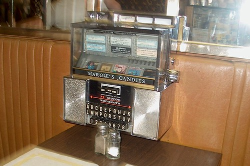 An old fashioned in booth jukebox at Margie's Candies.  1960 North Western Avenue in Chicago Illinois. by Eddie from Chicago