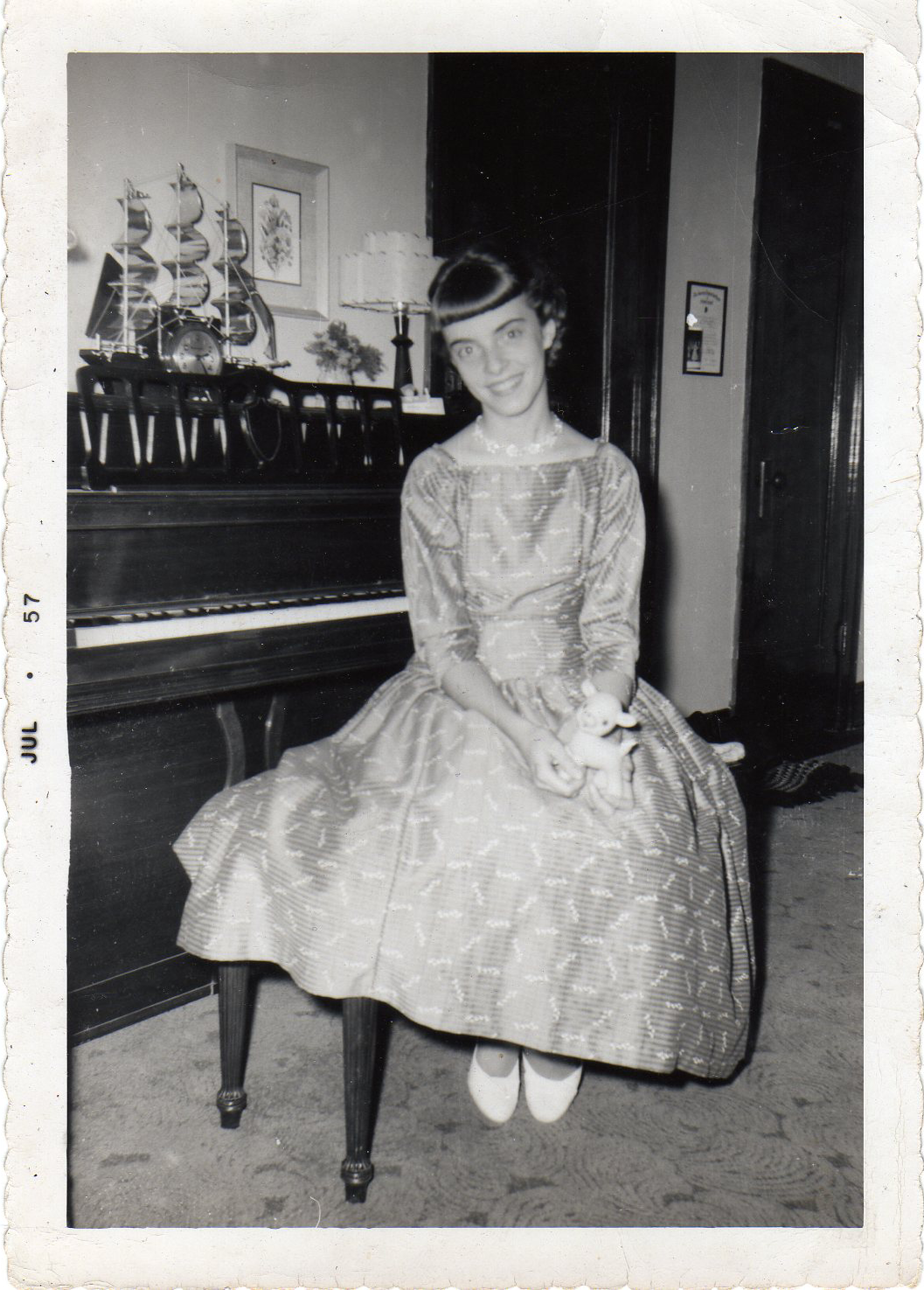 mom on piano bench