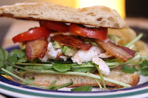 Lobster Club with Watercress, Bacon, and Avocado on Toasted Ciabatta