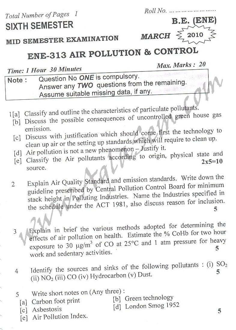 DTU Question Papers 2010 – 6 Semester - Mid Sem - ENE-313