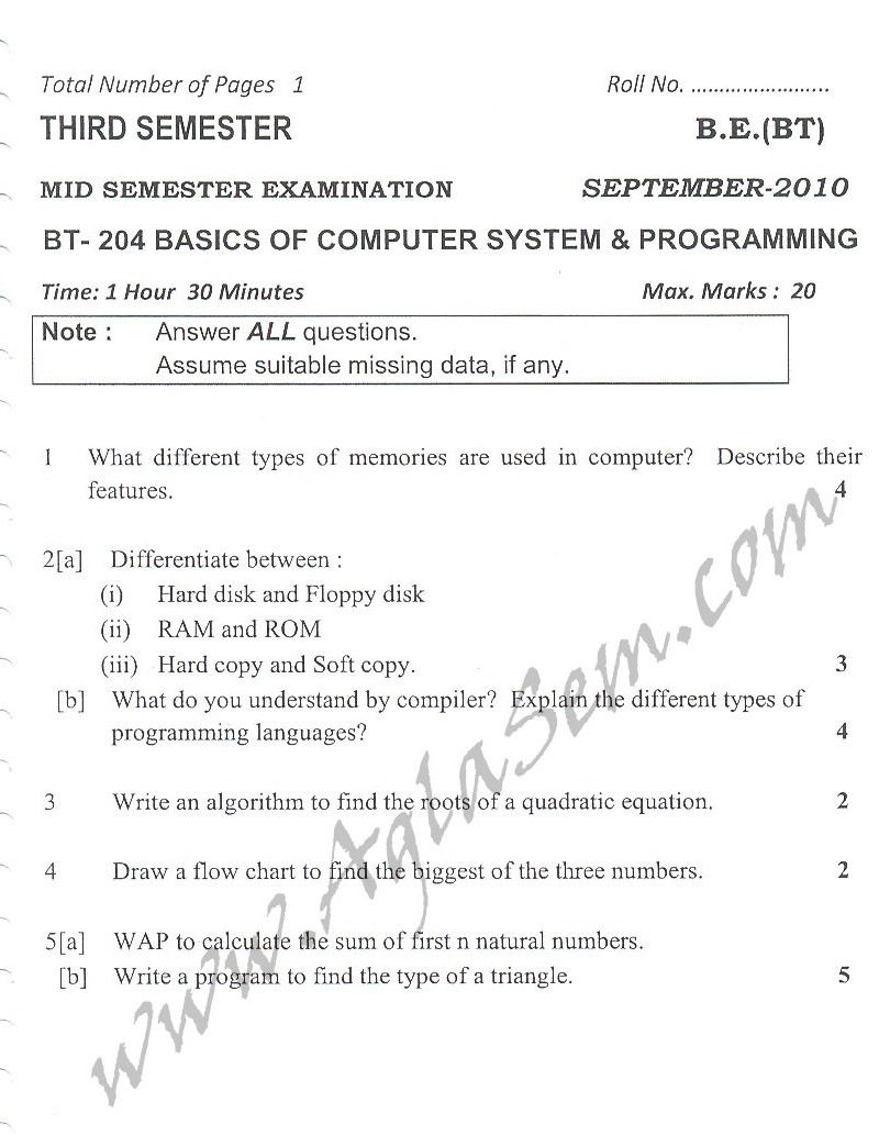 DTU Question Papers 2010 – 3 Semester - Mid Sem - BT-204