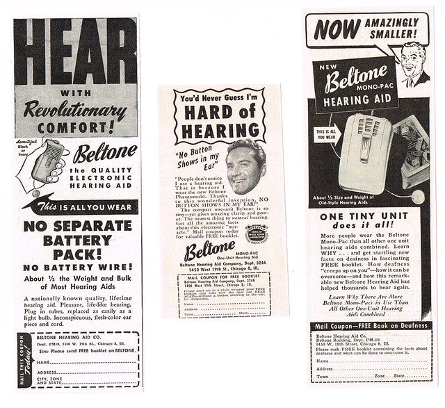 Vintage Ads for Beltone Hearing Aids, Circa 1950s