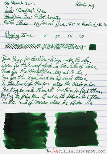 Noodler's Green on Rhodia