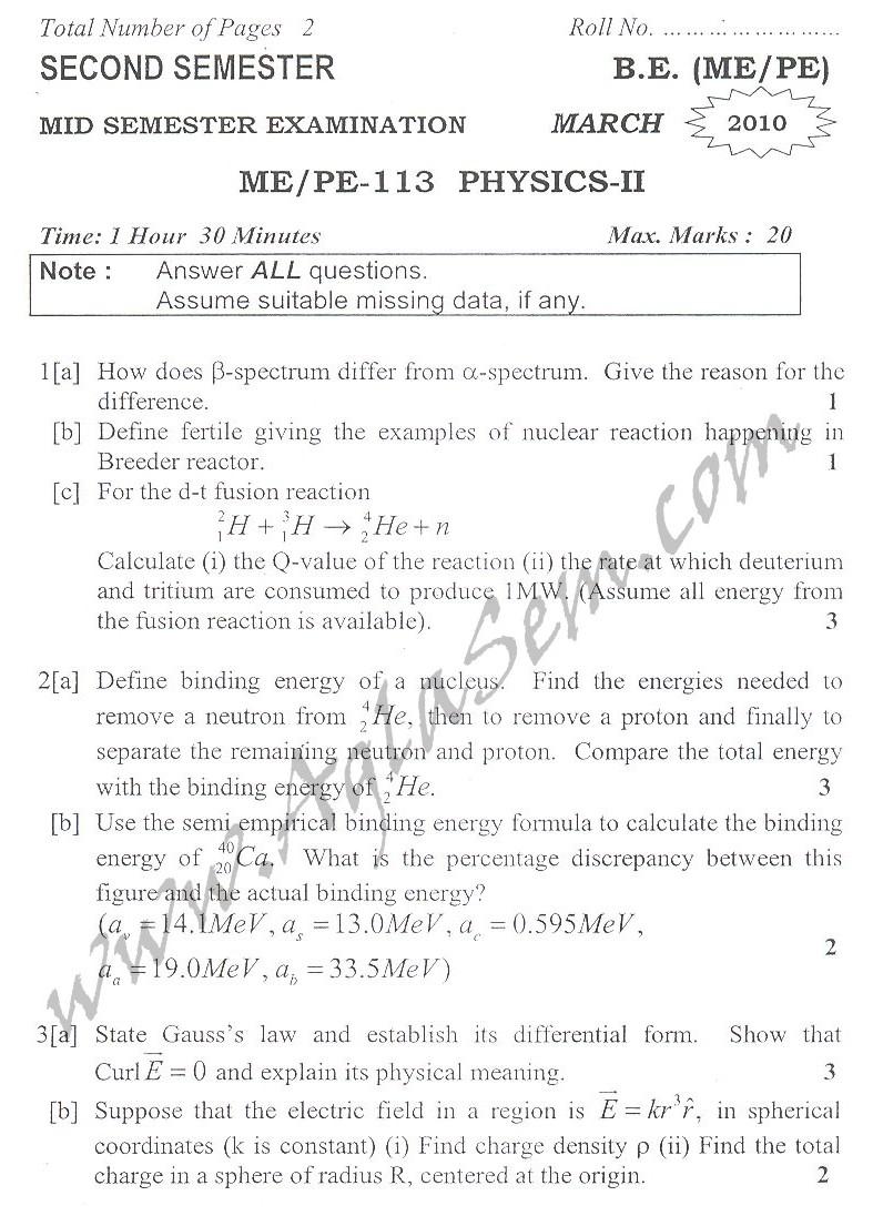 DTU Question Papers 2010 – 2 Semester - Mid Sem - ME/PE-113