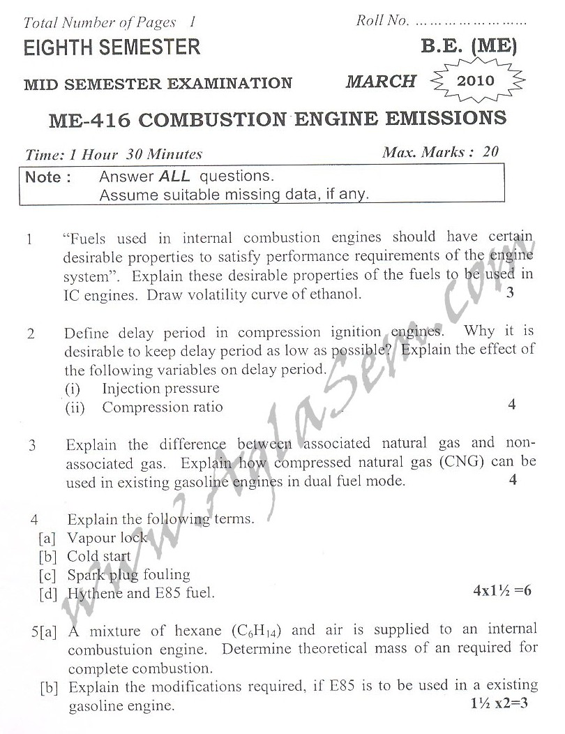DTU Question Papers 2010 – 8 Semester - Mid Sem - ME-416
