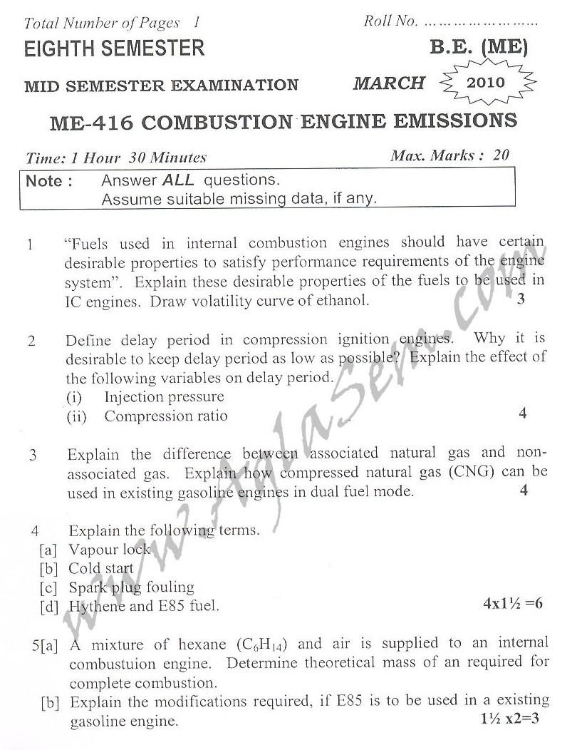 DTU Question Papers 2010 – 8 Semester - Mid Sem - ME-416