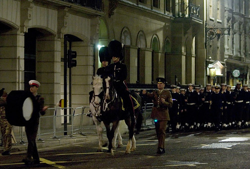 Soldiers march through the City of London