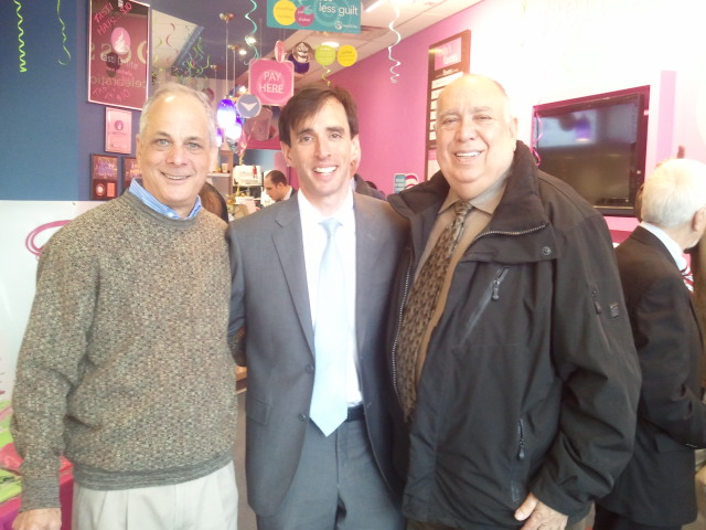 Tasti D-Lite owner, Bill Warshaw. New Rochelle Mayor, Noam Bramson. Chamber of Commerce, Executive Director, Eli Gordon