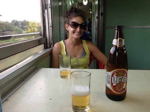 "enjoying a beer in the bar car with our 3rd class ""standing room only"" tickets"