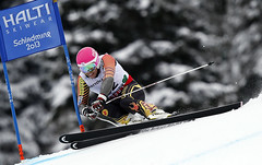 Ben Thomsen focuses on the task at hand during the men's super-G at the 2013 world championships. Thomsen finished 19th.