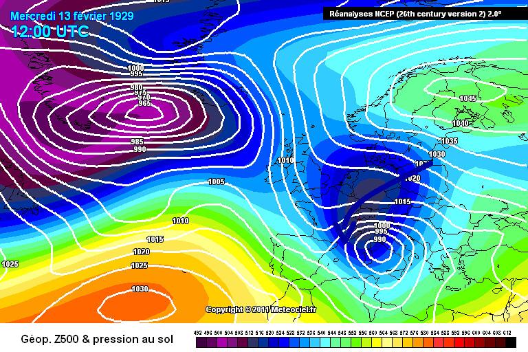 carte de situation lors de la journée glaciale du 13 février 1929 météopassion