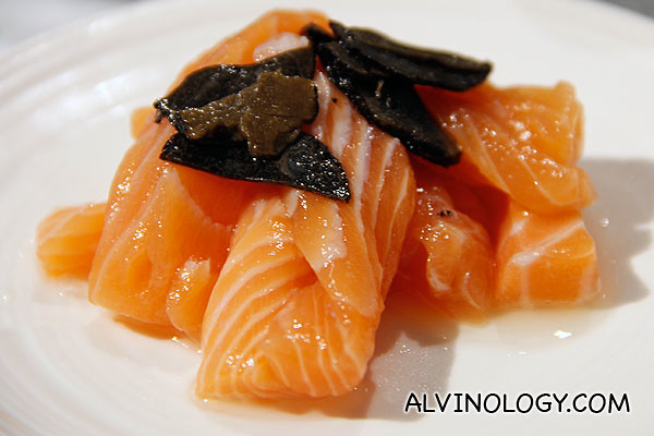 The salmon and black truffles