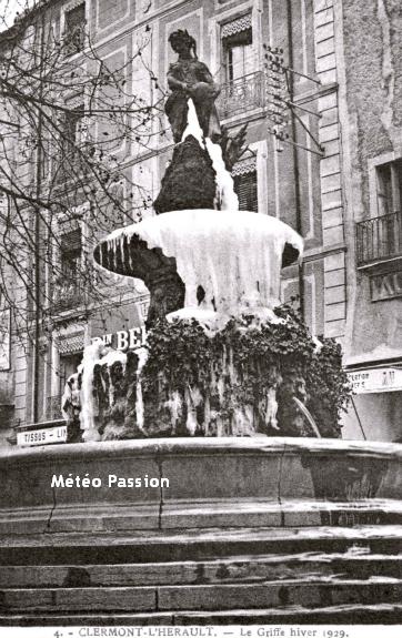 fontaine gelée à Clermont l'Hérault en Languedoc lors de la vague de froid de février 1929 météopassion