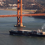 Container ship into the Golden Gate