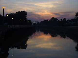 River Sunset Fluss Sonnenuntergang Suphanburi Central Thailand