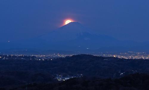 Mt.Fuji, the Full Moon