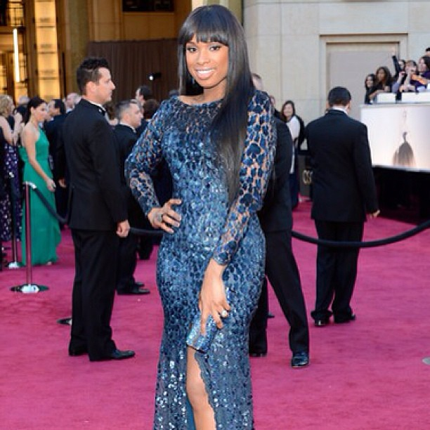 Jennifer Hudson was a blue doll in this dress at the Oscars 2013