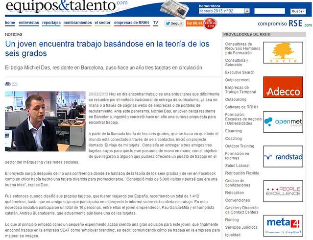 Artículo en la web - Equipo y Talento (26.02.2013) - castellano