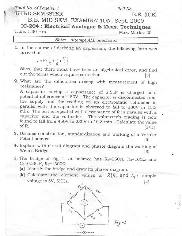 NSIT: Question Papers 2009 – 3 Semester - Mid Sem - IC-204
