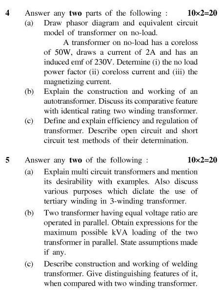 UPTU B.Tech Question Papers - EE-401-Electromechanical Energy Conversion – I