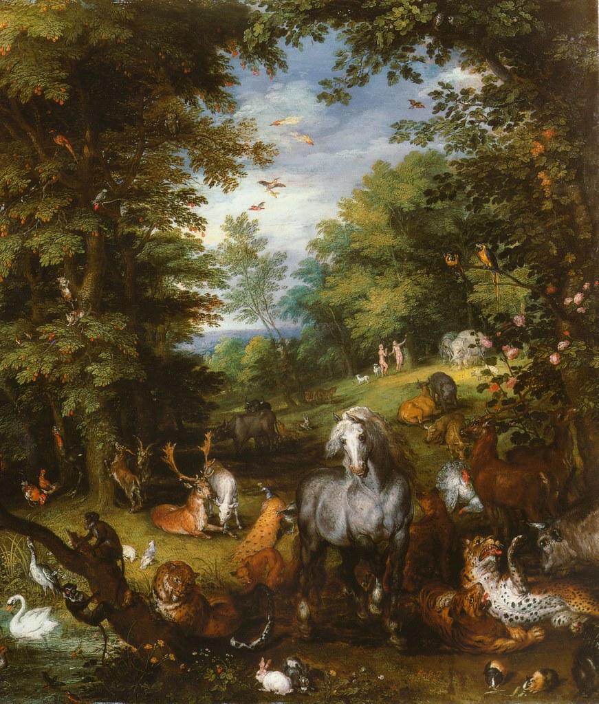 Jan Bruegel d. Ä., Paradieslandschaft mit Sündenfall, Ausschnitt ...