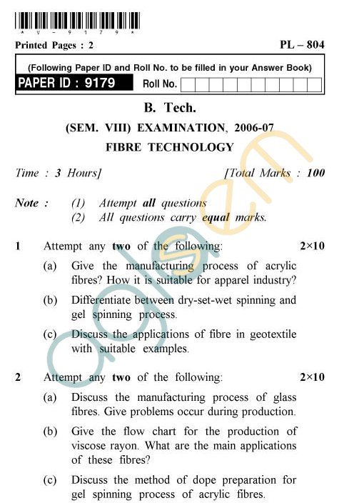 UPTU B.Tech Question Papers - PL-804 - Fibre Technology