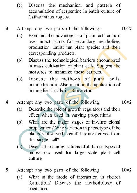 UPTU B.Tech Question Papers - BE-011 - Plant Cell Biotechnology